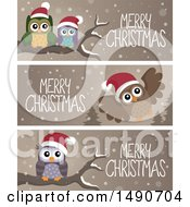 Clipart Of Merry Christmas Banners With Owls Royalty Free Vector Illustration