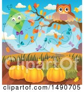 Clipart Of A Kite By An Owl On An Autumn Branch Royalty Free Vector Illustration
