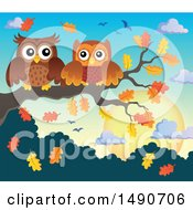 Pair Of Owls On An Autumn Branch