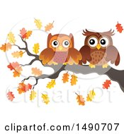 Clipart Of A Pair Of Owls On An Autumn Branch Royalty Free Vector Illustration by visekart