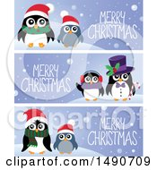 Clipart Of Merry Christmas Banners With Penguins Royalty Free Vector Illustration