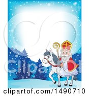 Clipart Of A Border Of Sinterklaas On A Horse Royalty Free Vector Illustration by visekart