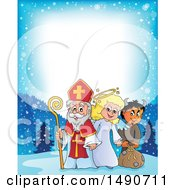 Clipart Of A Border Of Sinterklaas With An Angel And Krampus Royalty Free Vector Illustration