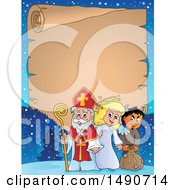 Clipart Of A Parchment Scroll With Sinterklaas With An Angel And Krampus Royalty Free Vector Illustration