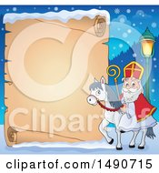 Clipart Of A Parchment Scroll Of Sinterklaas On A Horse Royalty Free Vector Illustration by visekart