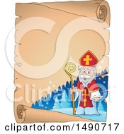 Clipart Of A Sinterklaas On A Parchment Scroll Royalty Free Vector Illustration by visekart