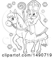 Clipart Of Sinterklaas On A Horse In Black And White Royalty Free Vector Illustration by visekart