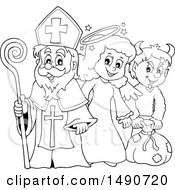 Clipart Of Sinterklaas With An Angel And Krampus In Black And White Royalty Free Vector Illustration