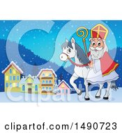 Clipart Of Sinterklaas On A Horse In A Town Royalty Free Vector Illustration by visekart