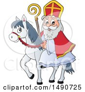 Clipart Of Sinterklaas On A Horse Royalty Free Vector Illustration
