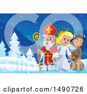 Clipart Of Sinterklaas With An Angel And Krampus Royalty Free Vector Illustration