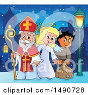 Sinterklaas With An Angel And Krampus