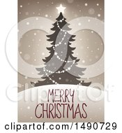 Clipart Of A Merry Christmas Greeting With A Tree Royalty Free Vector Illustration