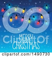 Clipart Of A Merry Christmas Greeting With Lights Royalty Free Vector Illustration