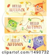Clipart Of Hello Autumn Greeting Banners With Kites Royalty Free Vector Illustration