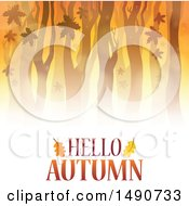 Clipart Of A Hello Autumn Greeting Under A Forest Royalty Free Vector Illustration