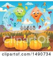 Pair Of Kites Over Autumn Pumpkins