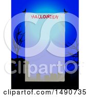 Semi Transparent Panel With Halloween Text Over A Silhouetted Cemetery And Full Moon