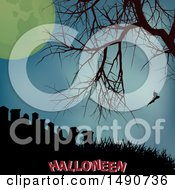 Silhouetted Bare Tree And Bat Over A Cemetery With A Full Moon And Halloween Text Royalty Free Vector Illustration