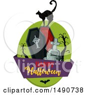 Clipart Of A Black Cat On A Coffin With A Happy Halloween Banner Royalty Free Vector Illustration by Vector Tradition SM