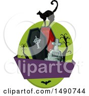 Clipart Of A Black Cat On A Coffin With A Blank Banner Royalty Free Vector Illustration