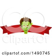 Clipart Of A Frankenstein Head Over A Blank Banner Royalty Free Vector Illustration by Vector Tradition SM