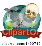 Clipart Of A Skull With A Spider Web Potion And Bats Over A Blank Banner Royalty Free Vector Illustration by Vector Tradition SM