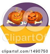 Clipart Of A Pair Of Eyeballs Bones And Halloween Jackolantern Pumpkins Over A Blank Banner Royalty Free Vector Illustration by Vector Tradition SM