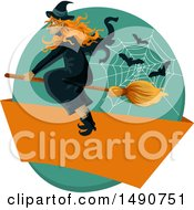 Clipart Of A Flying Witch With Bats And A Web Over A Blank Banner Royalty Free Vector Illustration