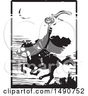 Horse Back Headless Horseman Holding Up A Jackolantern In Balck And White Woodcut
