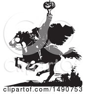 Horseback Headless Horseman Holding Up A Jackolantern In Balck And White Woodcut