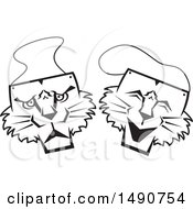 Clipart Of Black And White Wildcat Comedy And Tragedy Masks Royalty Free Vector Illustration