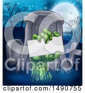 Clipart Of A Rising Zombie Hand Holding A Blank Card In A Cemetery Royalty Free Vector Illustration by AtStockIllustration