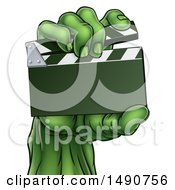Clipart Of A Green Zombie Hand Holding A Clapperboard Royalty Free Vector Illustration by AtStockIllustration