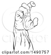 Clipart Of A Black And White Zombie Hand Holding A Royalty Free Vector Illustration by AtStockIllustration