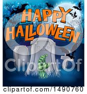 Clipart Of A Rising Zombie Hand In A Cemetery With Happy Halloween Text And Bats Royalty Free Vector Illustration by AtStockIllustration