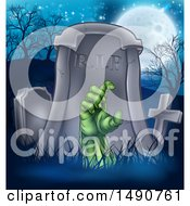 Clipart Of A Rising Zombie Hand In A Cemetery Royalty Free Vector Illustration by AtStockIllustration