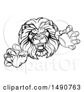 Poster, Art Print Of Black And White Tough Clawed Male Lion Monster Mascot Holding A Baseball Ball