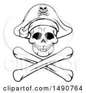 Clipart Of A Black And White Pirate Skull And Crossbones Jolly Roger Royalty Free Vector Illustration by AtStockIllustration