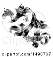 Clipart Of A Black And White Ornate Vintage Floral Design Element Royalty Free Vector Illustration
