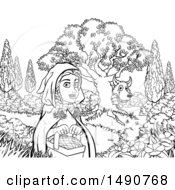 Clipart Of A Black And White Wolf Stalking Little Red Riding Hood Royalty Free Vector Illustration