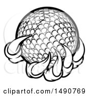 Clipart Of A Black And White Monster Or Eagle Claws Holding A Golf Ball Royalty Free Vector Illustration