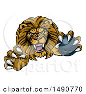 Poster, Art Print Of Tough Clawed Male Lion Monster Mascot Holding A Bowling Ball