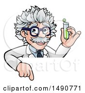Clipart Of A Cartoon Senior Male Scientist Holding A Test Tube Over A Sign Royalty Free Vector Illustration by AtStockIllustration