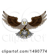 Clipart Of A Cartoon Swooping American Bald Eagle With A Golf Ball In His Talons Royalty Free Vector Illustration