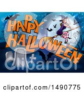 Clipart Of A Witch And Bats Flying Over A Full Moon Happy Halloween Greeting And Cemetery Royalty Free Vector Illustration by AtStockIllustration