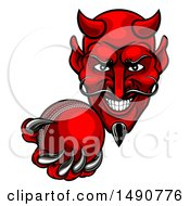 Clipart Of A Grinning Evil Red Devil Holding Out A Cricket Ball In A Clawed Hand Royalty Free Vector Illustration