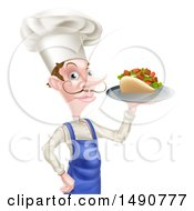 Clipart Of A White Male Chef With A Curling Mustache Holding A Souvlaki Kebab Sandwich And French Fries On A Tray Royalty Free Vector Illustration by AtStockIllustration