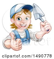 Clipart Of A White Female Mason Worker Holding A Trowel And Giving A Thumb Up Royalty Free Vector Illustration by AtStockIllustration