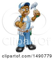 Poster, Art Print Of Full Length Happy Black Male Carpenter Holding A Hammer And Giving A Thumb Up